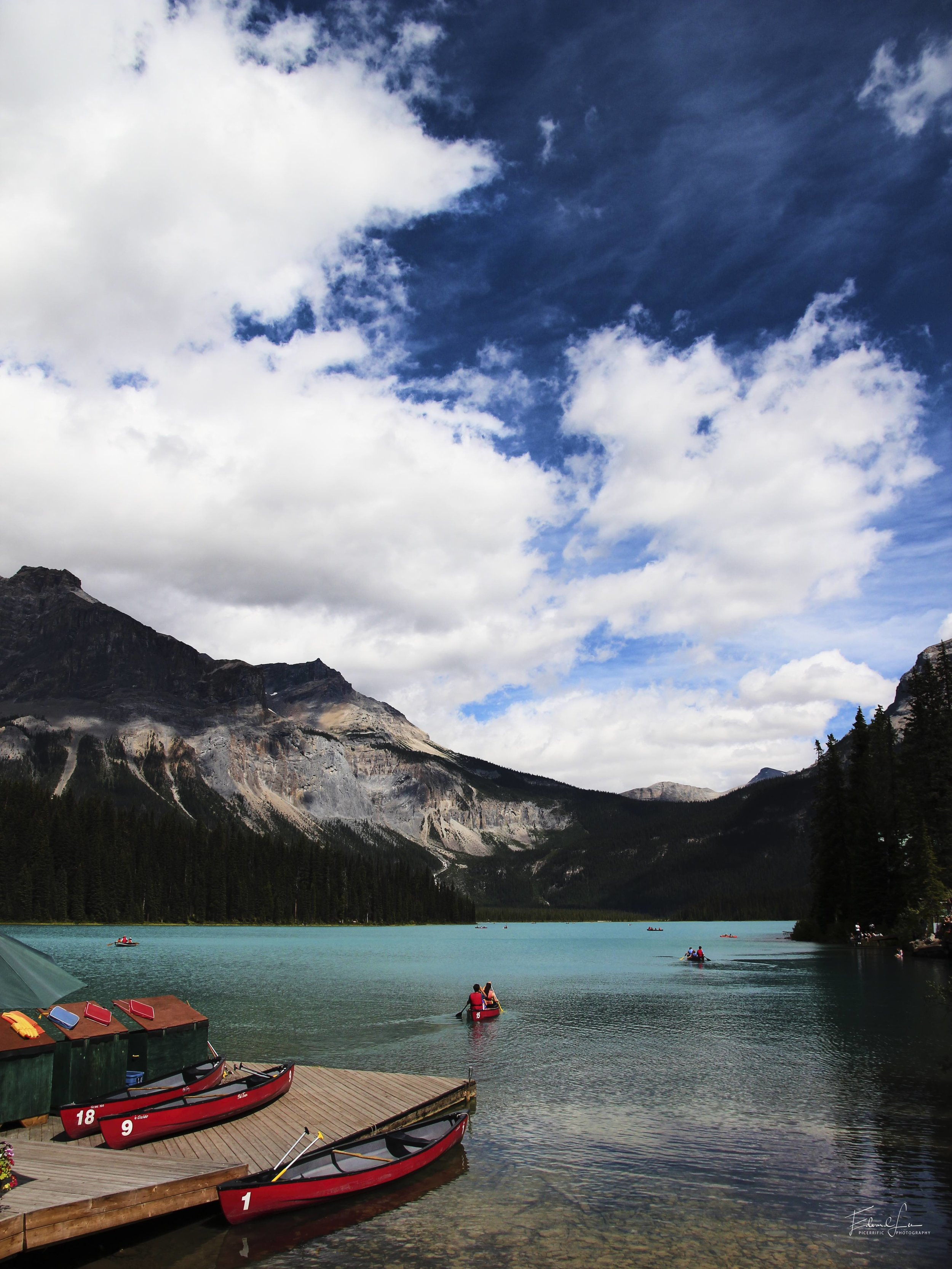 Red boats on Emerald Lake, 2013.