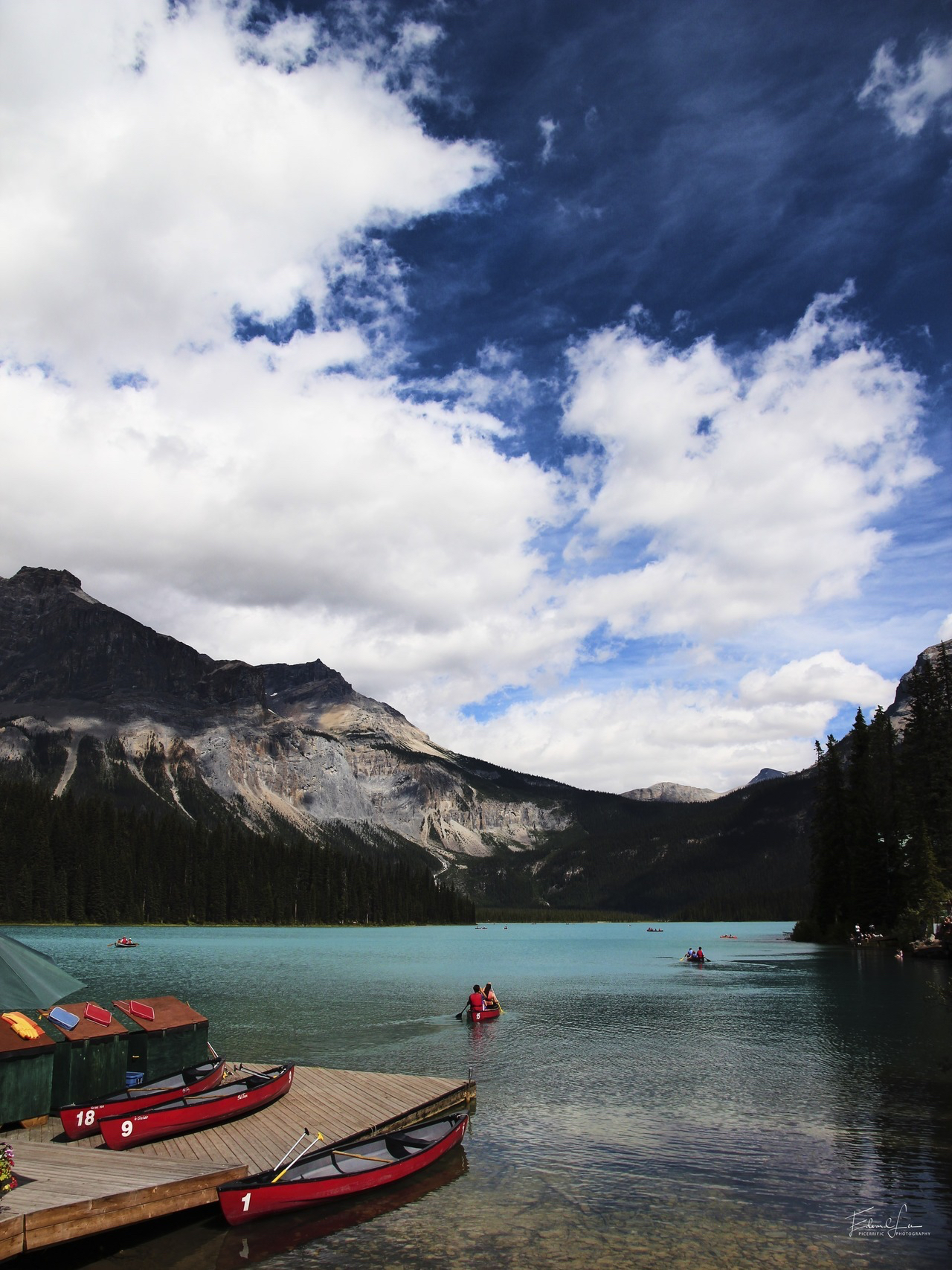 Red boats on Emerald Lake, 2013