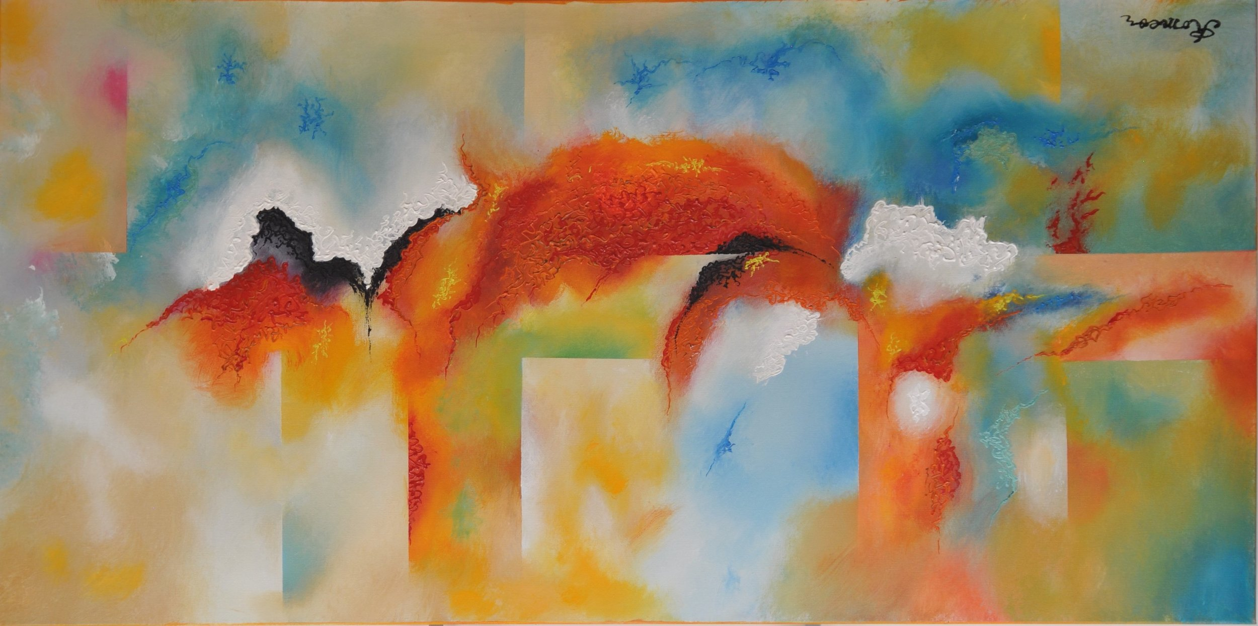 Good morning 1, acrylic on canvas, 24x48x1.5 inch, SKU 1090