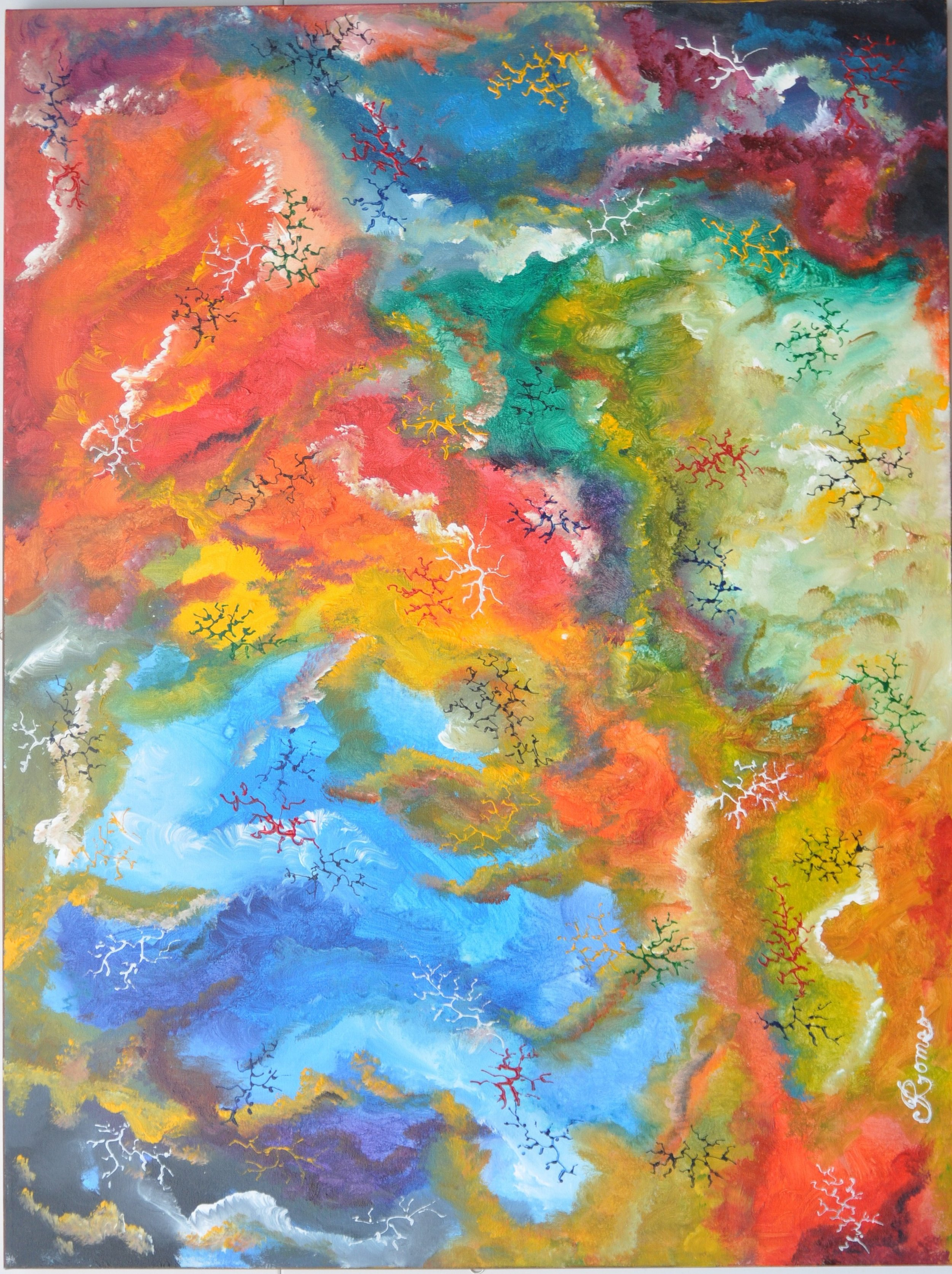 Colours, inside of marble 13, acrylic on canvas, 30X40X1.5 inch, SKU 1011
