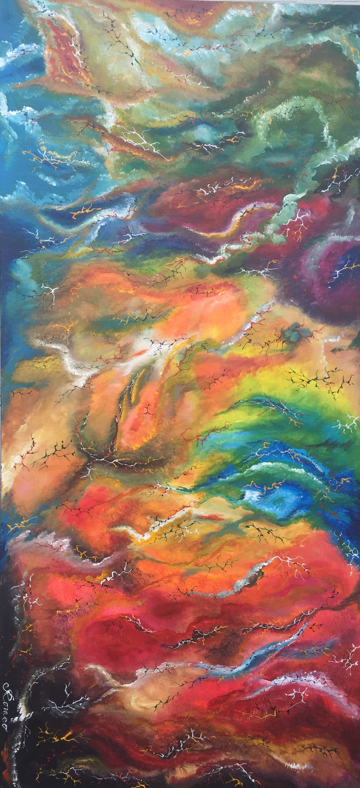 Colours, inside of marble. acrylic on canvas, 30x64x1.5 inches, SKU 1043