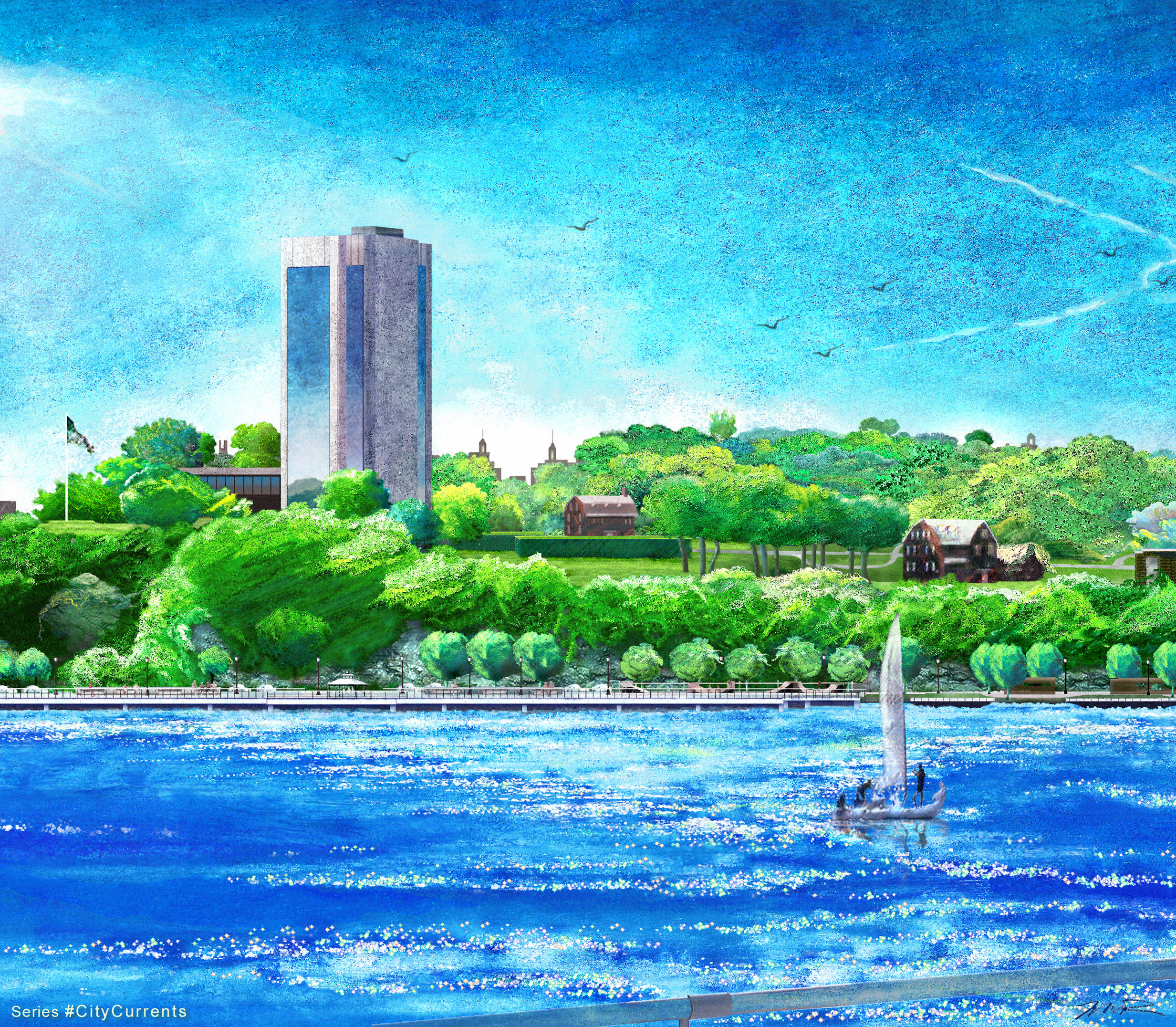 River City I.T. Campus Lscp - Hard Pastel River of PXLs_32 x 48 in