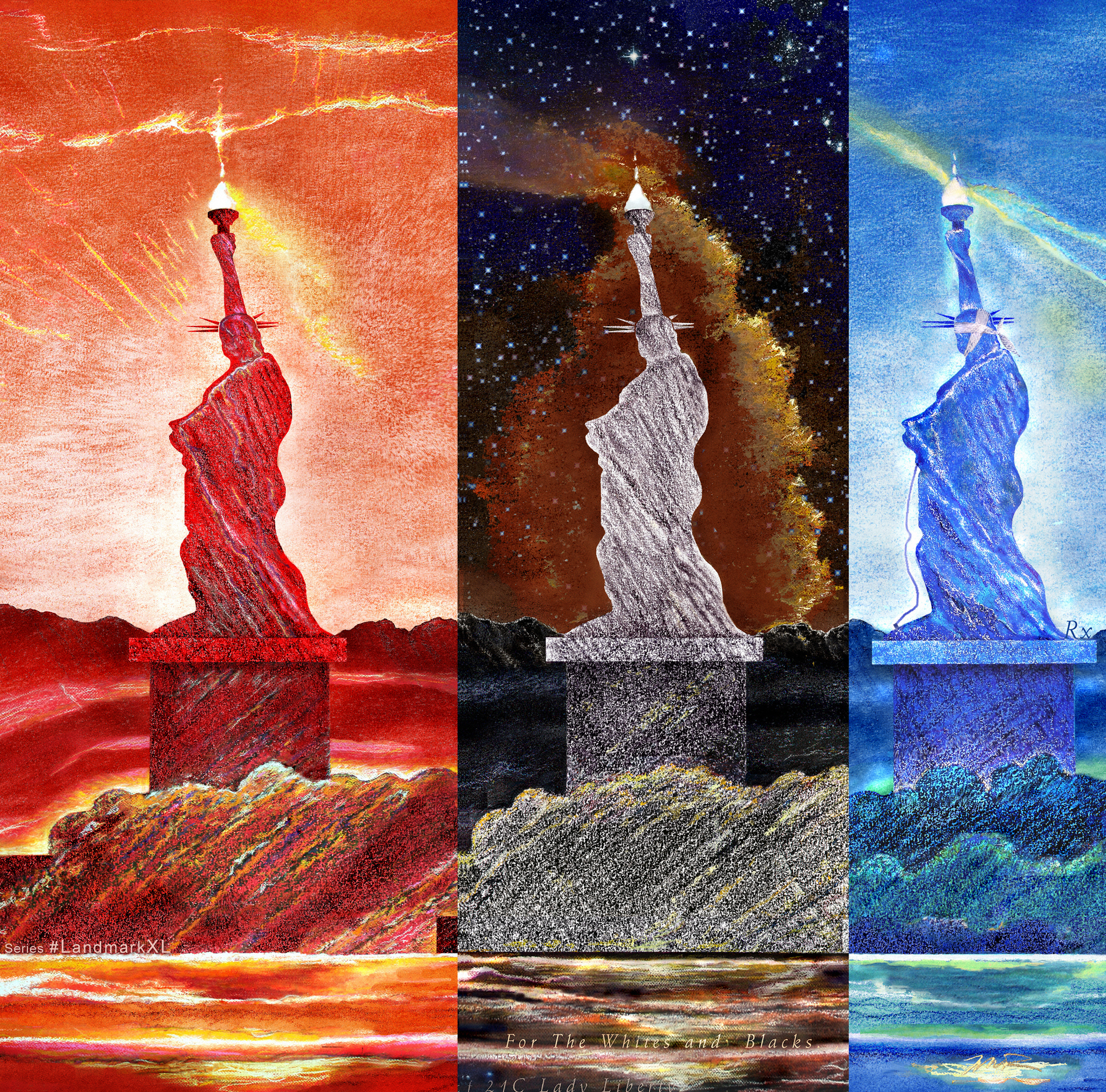 The LANDSCAPE OF 21C LADY LIBERTY Tryptych For The Reds to Yellows, Whites with Blacks, And A Spectrum of Blues_44 x 96in