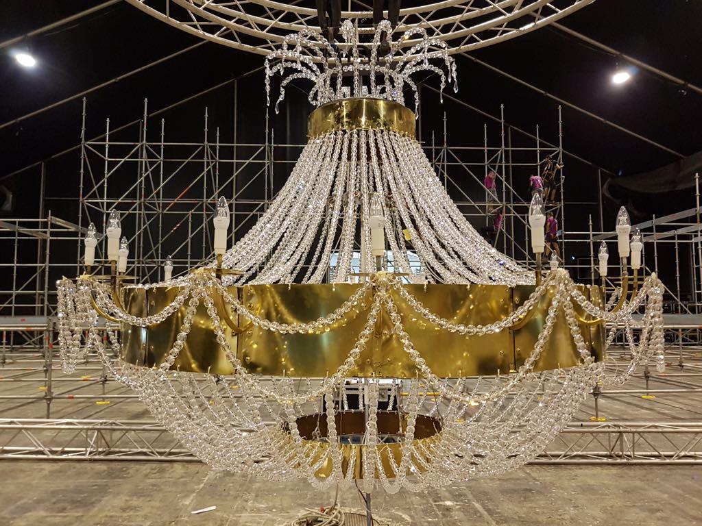 The chandelier taking shape