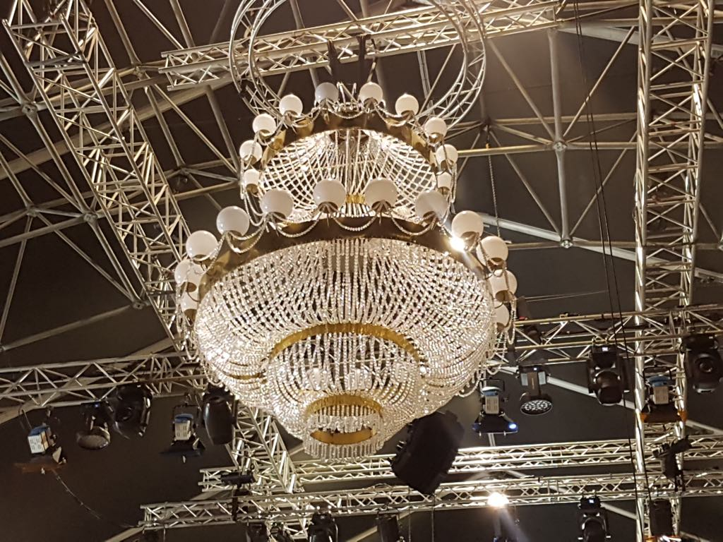 The chandelier in place