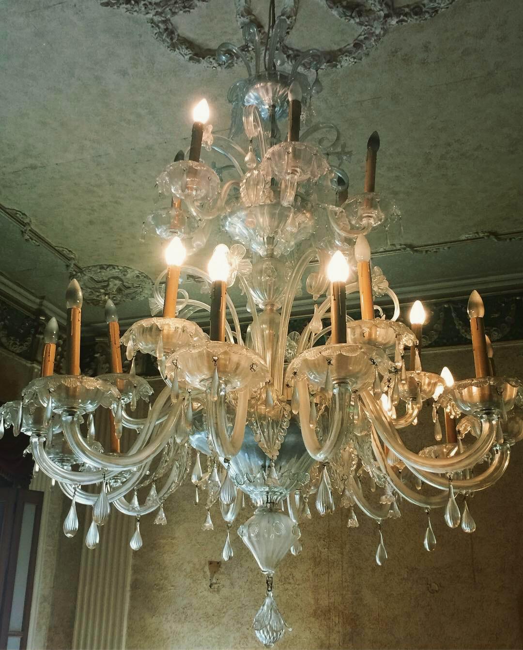 The unrestored chandelier