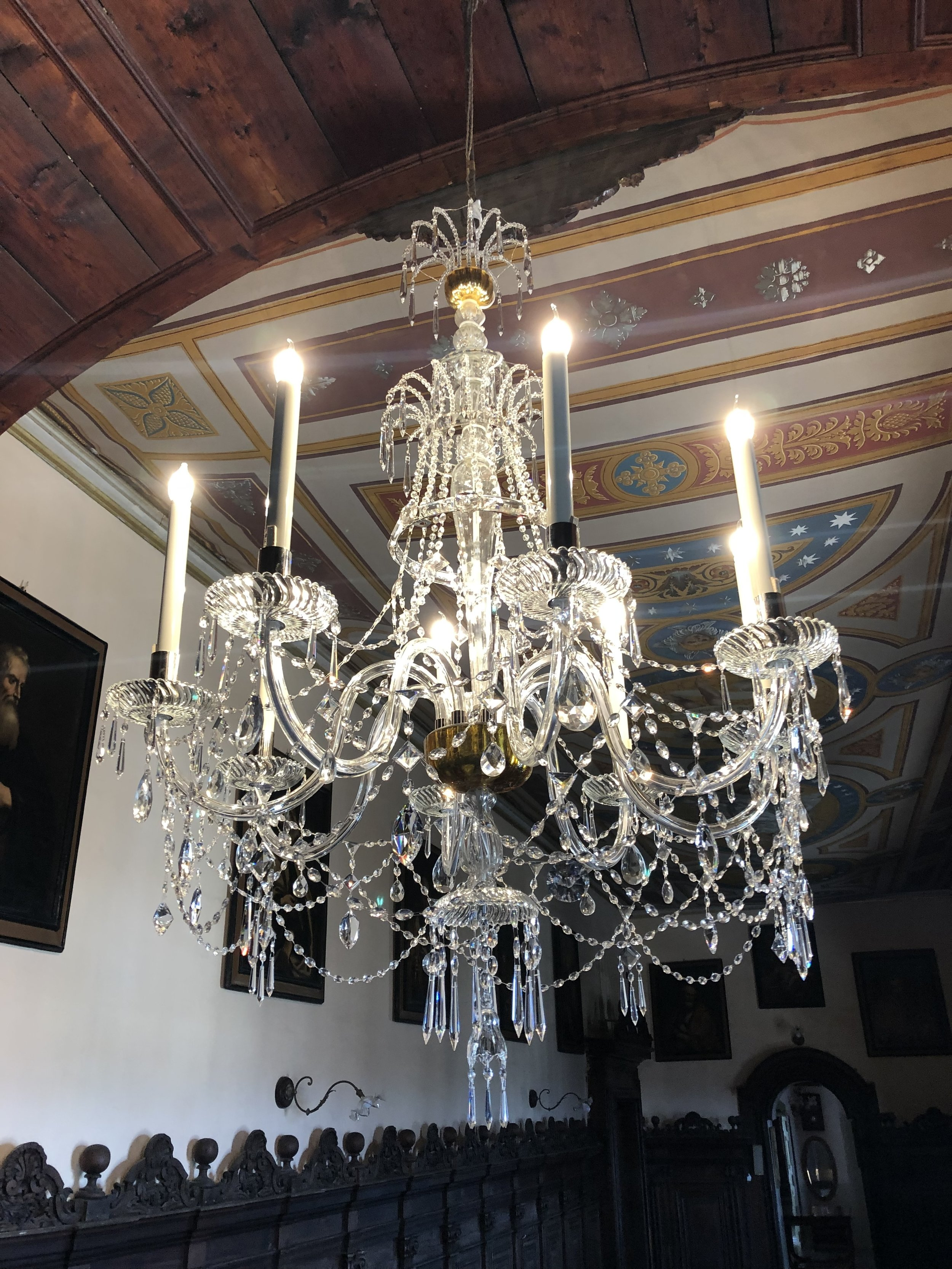 Close up view of the restored chandelier