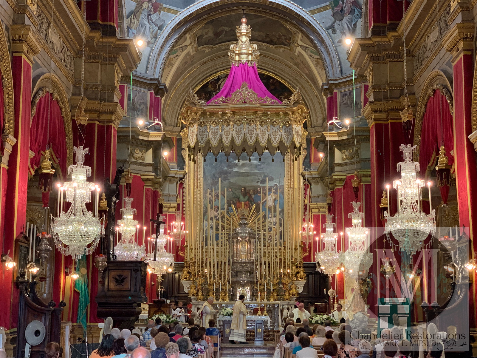 View of the church, with six restored and lit chandeliers installed
