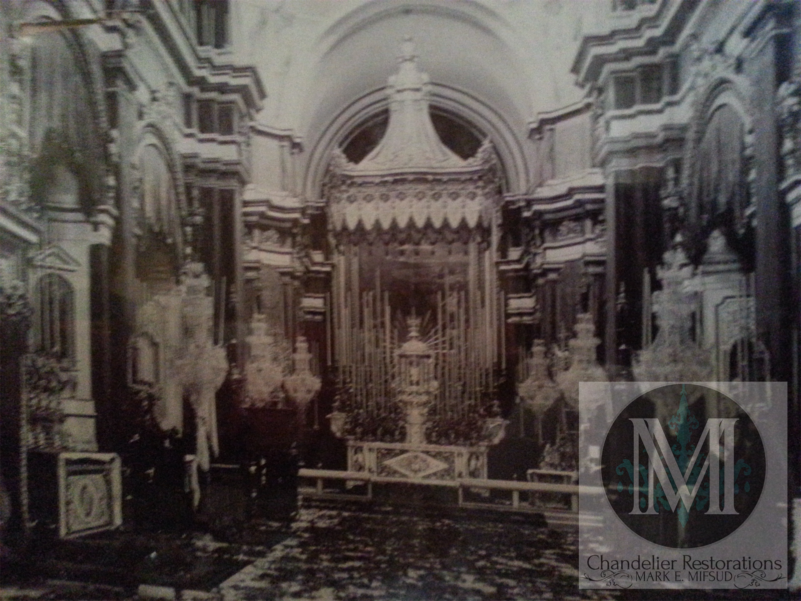 Old photo of the church, showing the original chandeliers