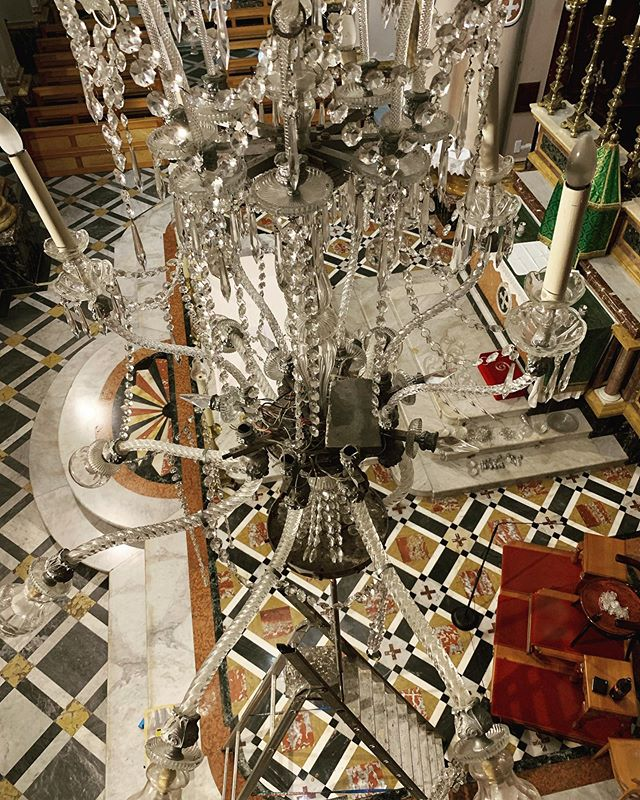 The view from above ! Today we continue dismantling these big ladies ! * * * * * #mmchandeliers #restoration #chandelierrestoration #qalagozochurch #malta