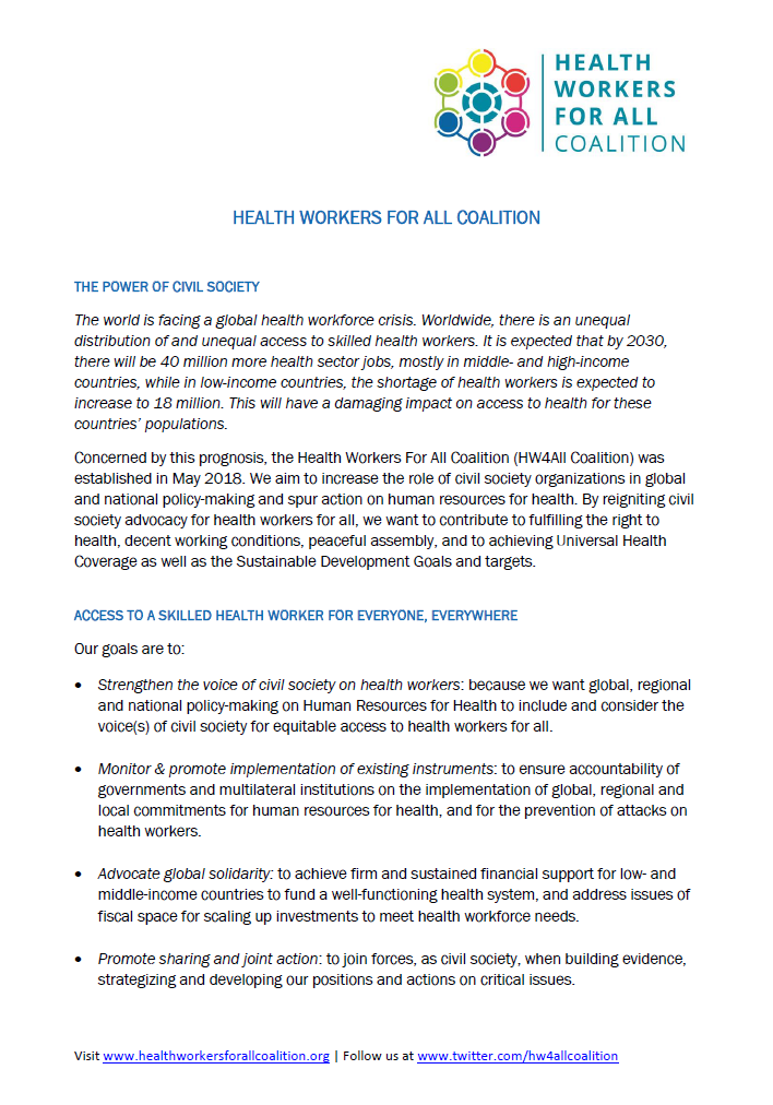 Factsheet - Health Workers for All Coalition