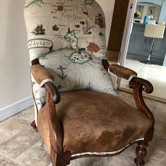 Reupholstering an antique chair brings up to date. We loved to finish on this one. Happy client! #sanderson #wemyss #upholstery