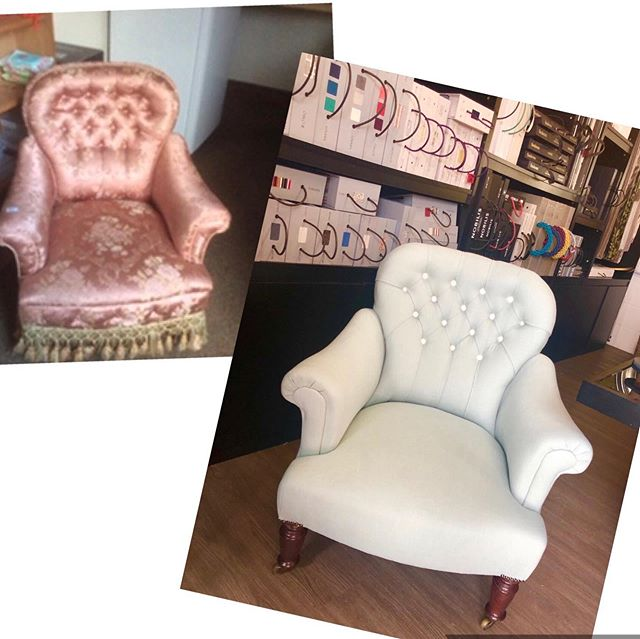What a makeover this chair had! Who agrees? #upholsteredchair #fabric #romofabrics