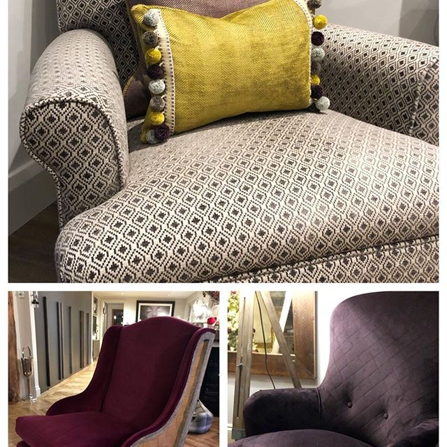 Some reupholstered chairs adding something special to any room. #romo #upholstery #designing