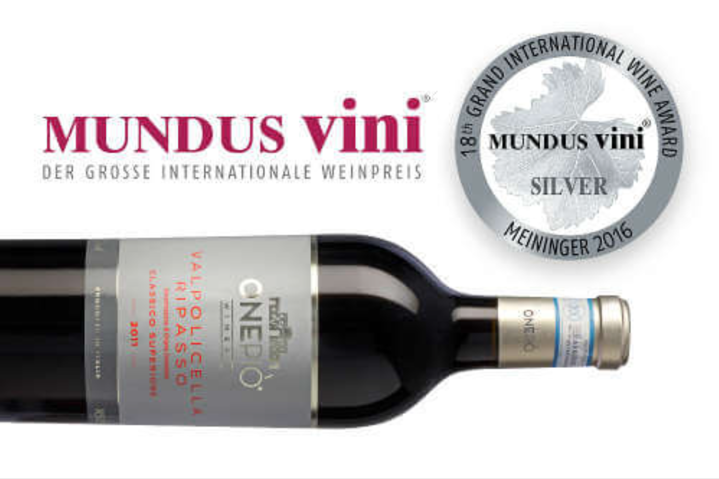 Mundus Vini 2016 - Silver medal Onepiò Valpolicella Ripasso Classico Superiore DOC 2011