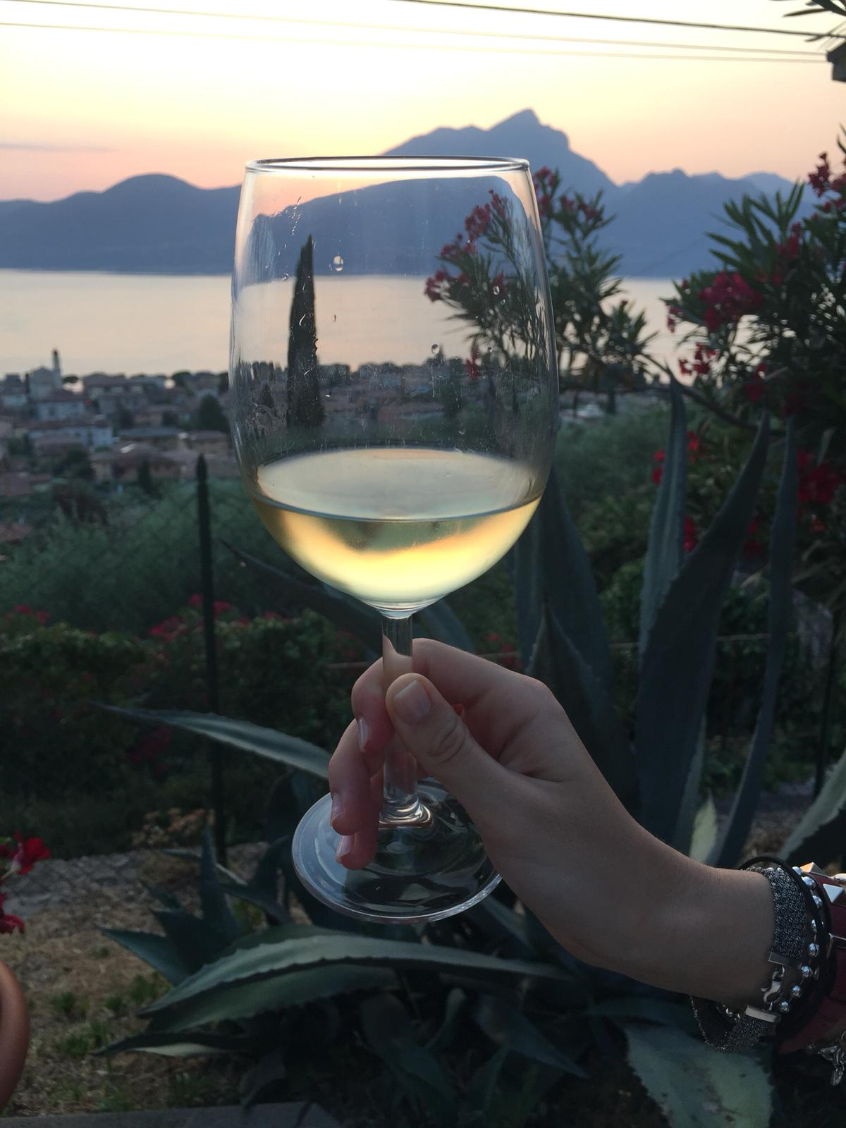 A glass of wine in front of the lake: the perfect way to start your evening! -