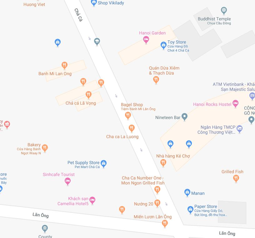 """Notice the street name, as well as the many shops that have """"Cha Ca"""" in their name. Our mistake meal occurred at """"Cha Ca Number One"""" although they advertised themselves as """"14 Cha Ca"""""""