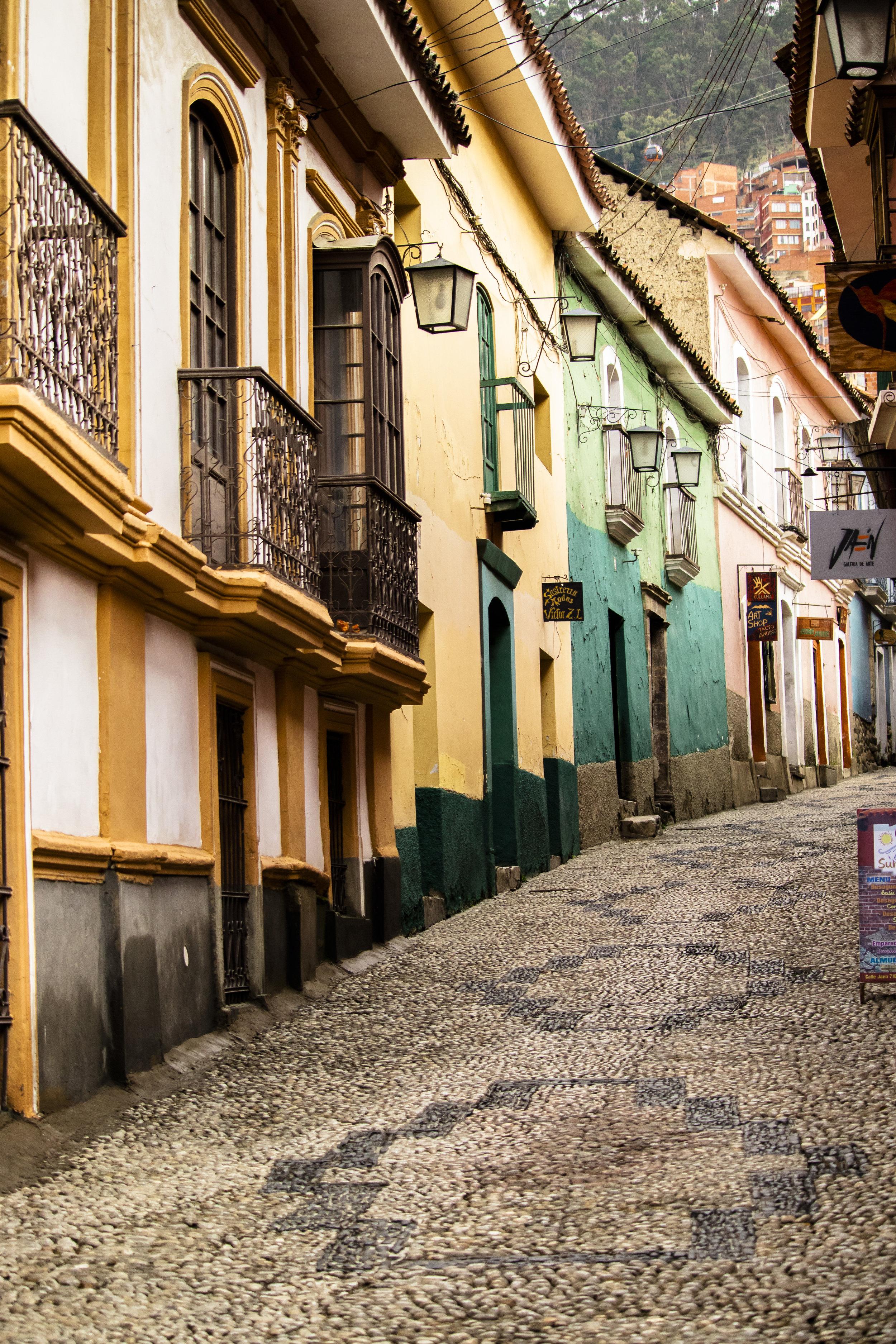 Colonial street still in tact in La Paz, Bolivia