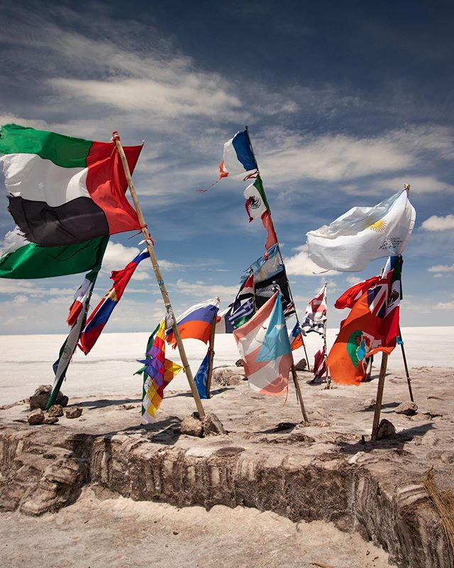 In Salar de Uyuni, there is a place where people have placed flags from their home countries. It's truly amazing to see how many people have visited the salt flats, and from how far away they've come. Had we known there was not an American flag, we would have brought one!! So, if you are headed to Uyuni, bring a little flag from your country, because you never know! . . . . . . . #uyunisaltpic #salardeuyunibolivia #uyunibolivia #travelbolivia #couplewhotravel #travelcouplelife #boliviatravel #travelcouplegoals #explorebolivia #mytravelpics #uyunisaltflats #experiencebolivia #couplesthattravel #salardeuyuni #uyuni #visitsouthamerica #bolivia #southamerica #globetrotter #travelpics #traveladdict #travelblogger #travelling