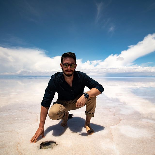 While we were in the Salt Flats, our tour guides showed us how to find salt crystals - if you find a thin area of the salt, you can punch a hole in it and the underside of that salt will be crystalized. While our guides set up our lunch, Jordan and I spent some time hunting for salt crystals! . . . . . . . . #touruyuni #saltflatsbolivia #uyunisaltpic #salardeuyunibolivia #uyunibolivia #travelbolivia #couplewhotravel #salaruyuni #travelcouplelife #boliviatravel #igersBolivia #travelcouplegoals #explorebolivia #visitbolivia #mytravelpics #uyunisaltflats #experiencebolivia #couplesthattravel #saltflats #salardeuyuni #uyuni #visitsouthamerica #beautifuldestinations #bolivia #southamerica #globetrotter #travelpics #traveladdict #travelblogger #travelling
