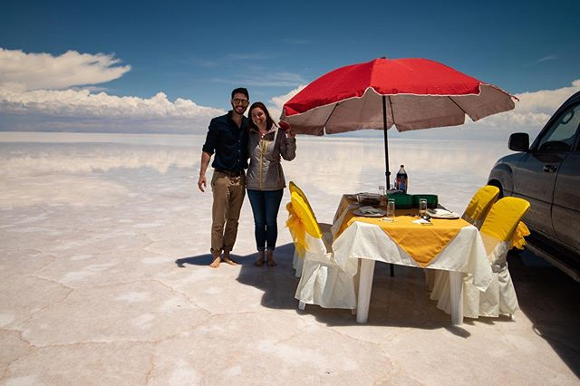 Our lovely tour guides at @andrea.tours set up an amazing lunch for us in the Salt Flats - great food, great views, what more could you want? If you are headed to Uyuni, make sure your tour guides will provide a lunch like this, it was an unforgettable experience! . . . . . . . . . . . #touruyuni #saltflatsbolivia #uyunisaltpic #salardeuyunibolivia #treadedtravels #uyunibolivia #travelbolivia #couplewhotravel #salaruyuni #travelcouplelife #boliviatravel #wanderinwonder #igersBolivia #travelcouplegoals #thebestplace_now #explorebolivia #visitbolivia #uyunisaltflats #traveldudes #experiencebolivia #couplesthattravel #justgoshoot #worldtravelbook #travellerspath #saltflats #salardeuyuni #uyuni #visitsouthamerica #dametraveler #bolivia