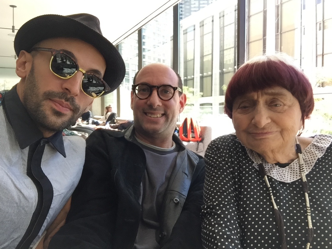 Gary Kramer with Agnes Varda and JR.