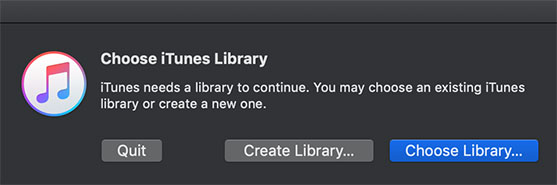Choose or Create iTunes Library in macOS