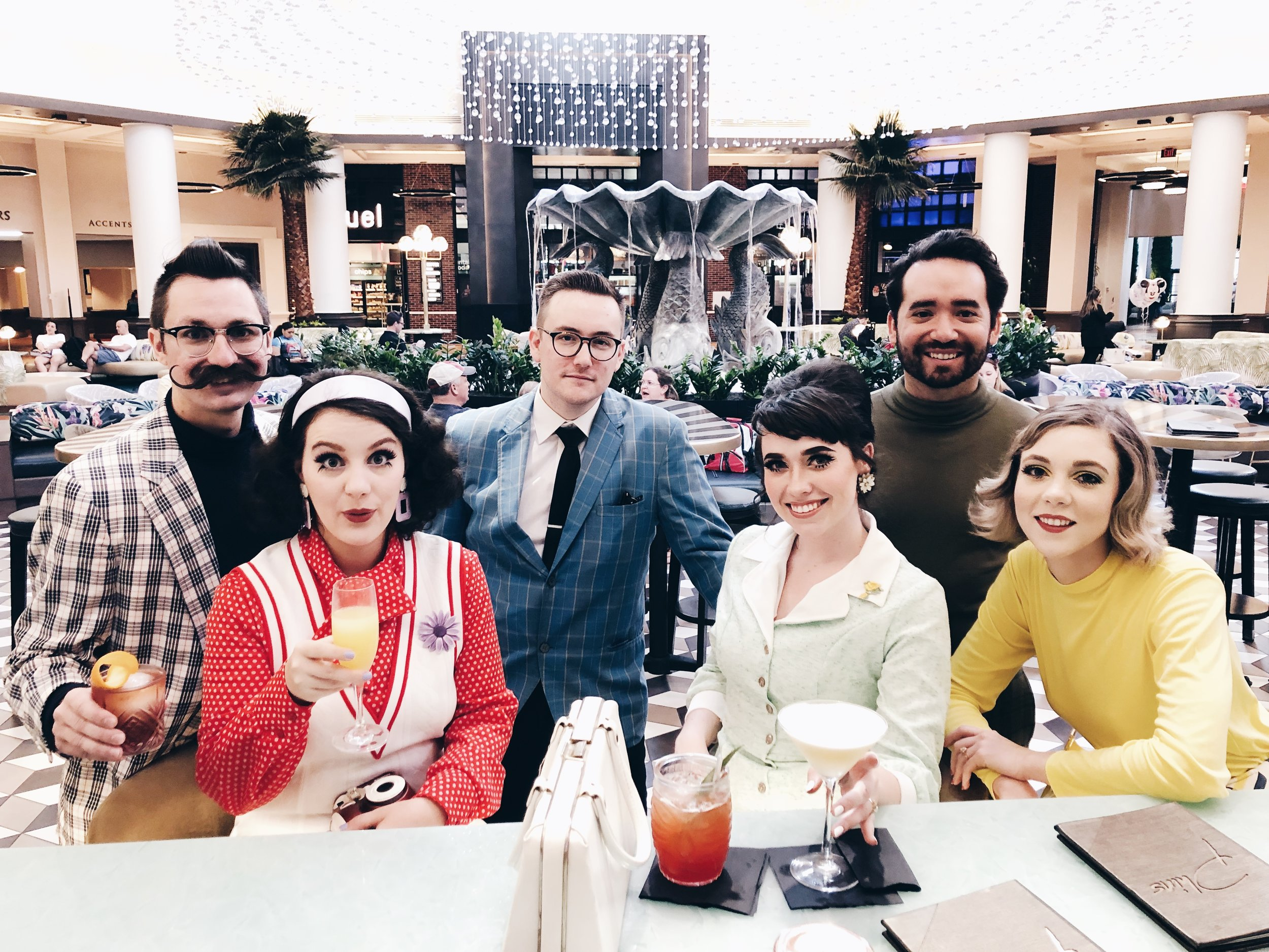 We stopped in at The Dolphin for a early afternoon cocktail before hitting up Epcot. The group! Be sure to follow these cuties for amazing content! I'm talking fashion, lifestyle, music & writing! From left to righ @mrspaigelavoie  (me!)  @mattplavoie  , @AustinVanWie  , @SamanthaVanWie , @suitandtype ,  @withdropsofjupiter