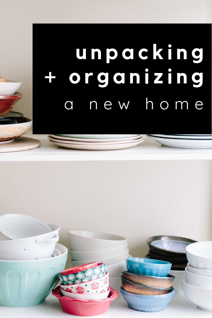 unpacking and organizing a new home