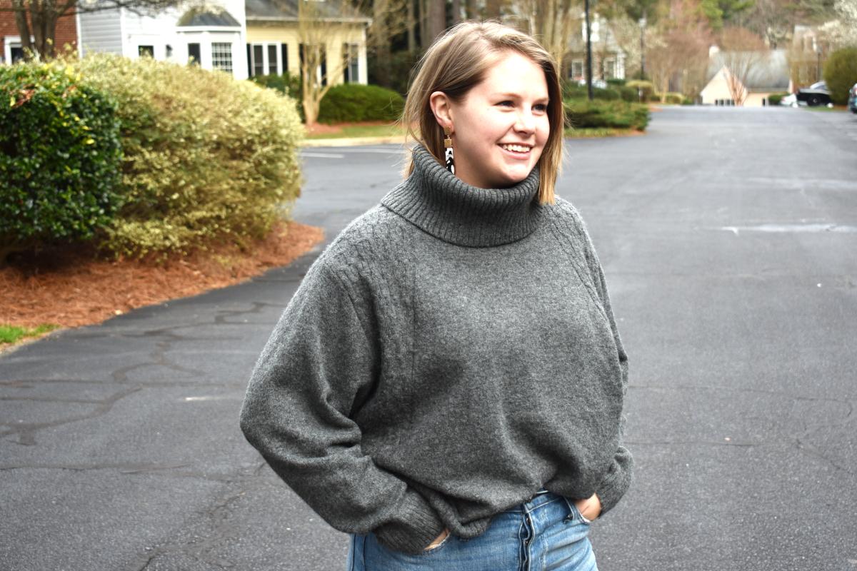 cozy gray sweater