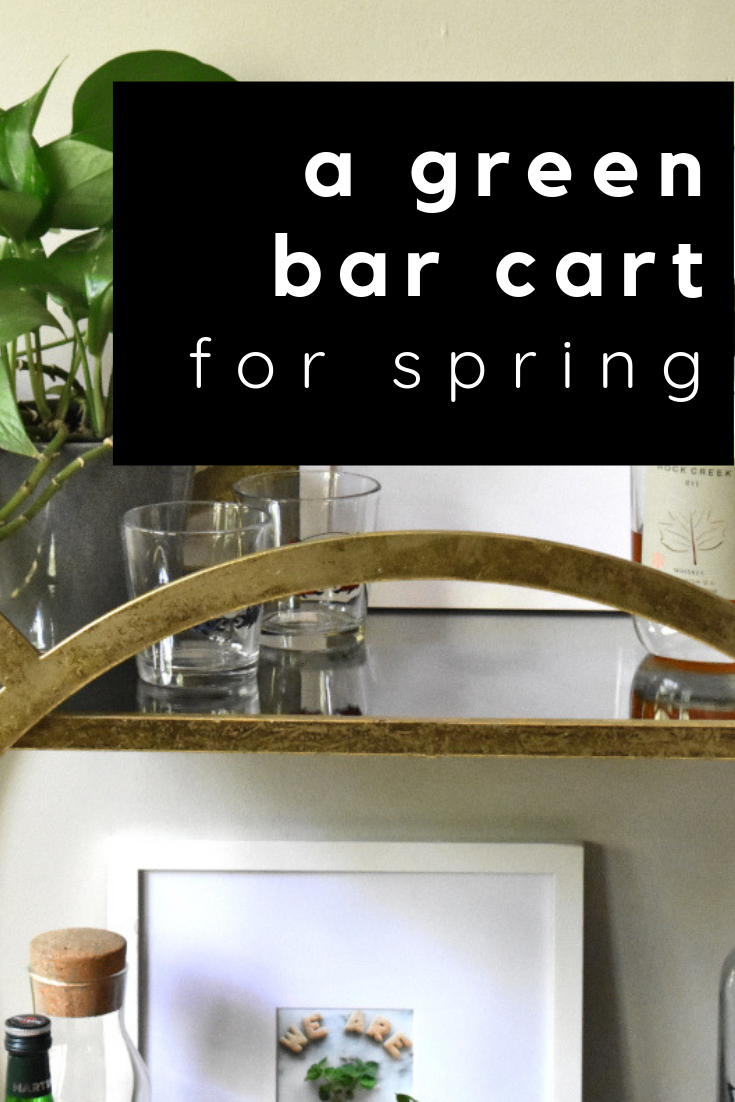 a green bar cart for spring