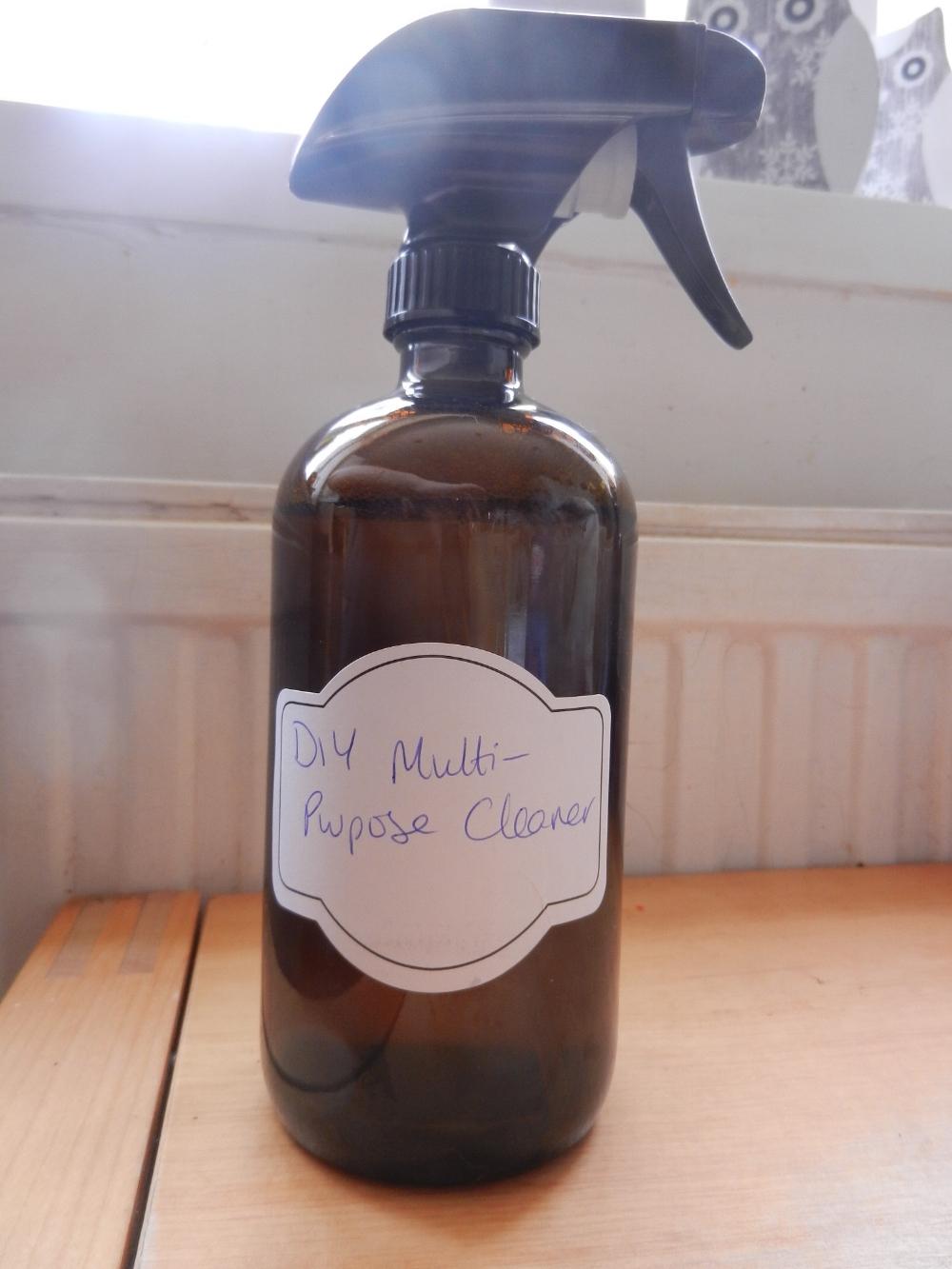 bottle of homemade household multipurpose cleaner
