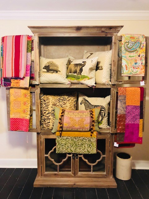 Kantha quilts_Sara Peckham pillows upstairs_in store.jpg