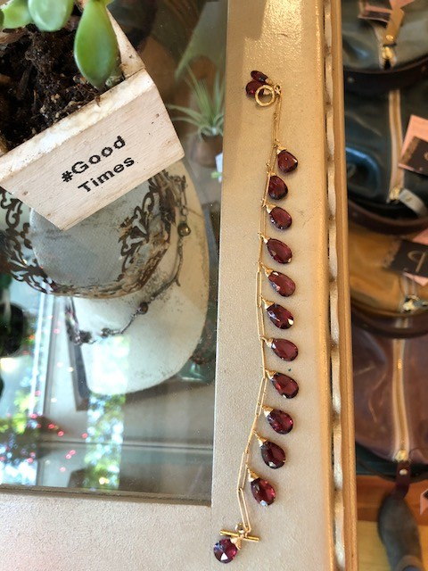 Garnet bracelet and reclaimed succulent.jpg