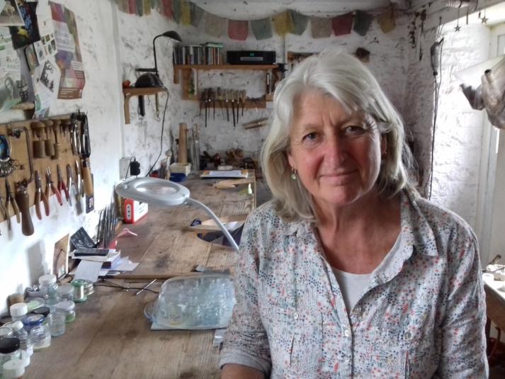 Caroline in her workshop at home in Somerset.