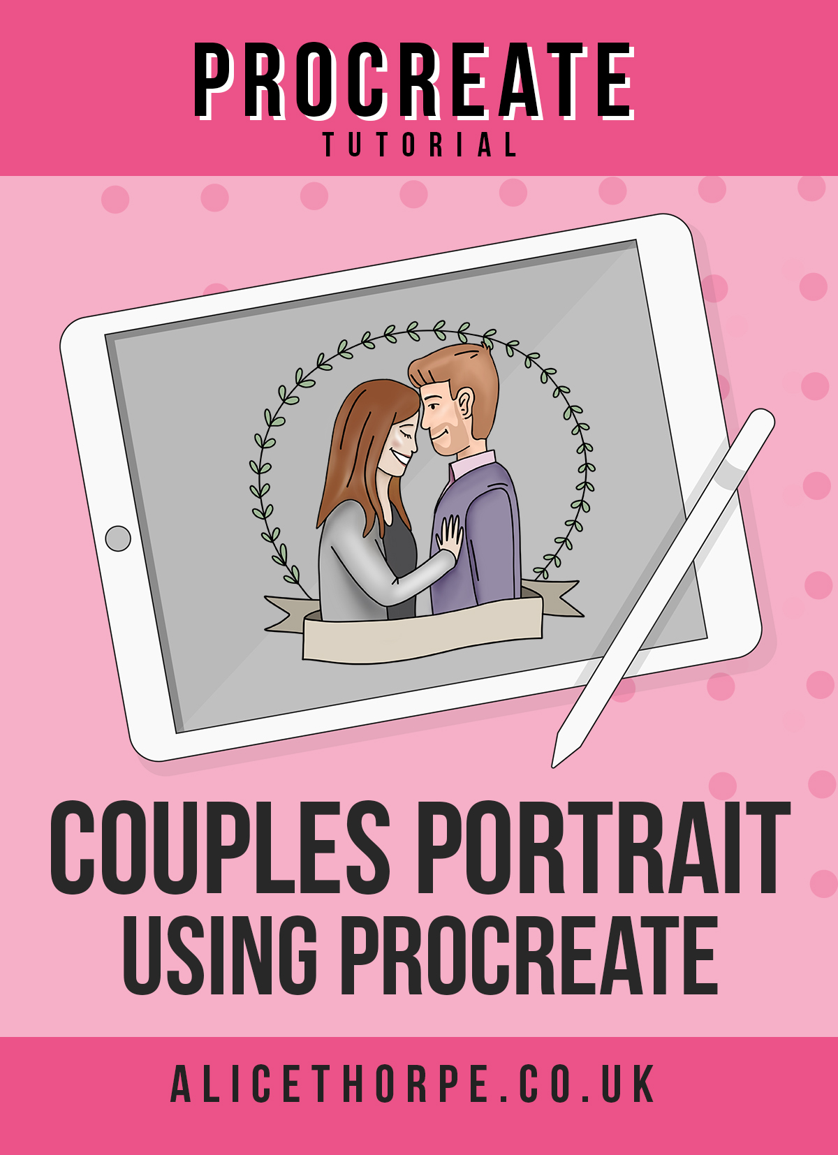 Free Procreate tutorial to create cartoon couples portrait by Alice Thorpe