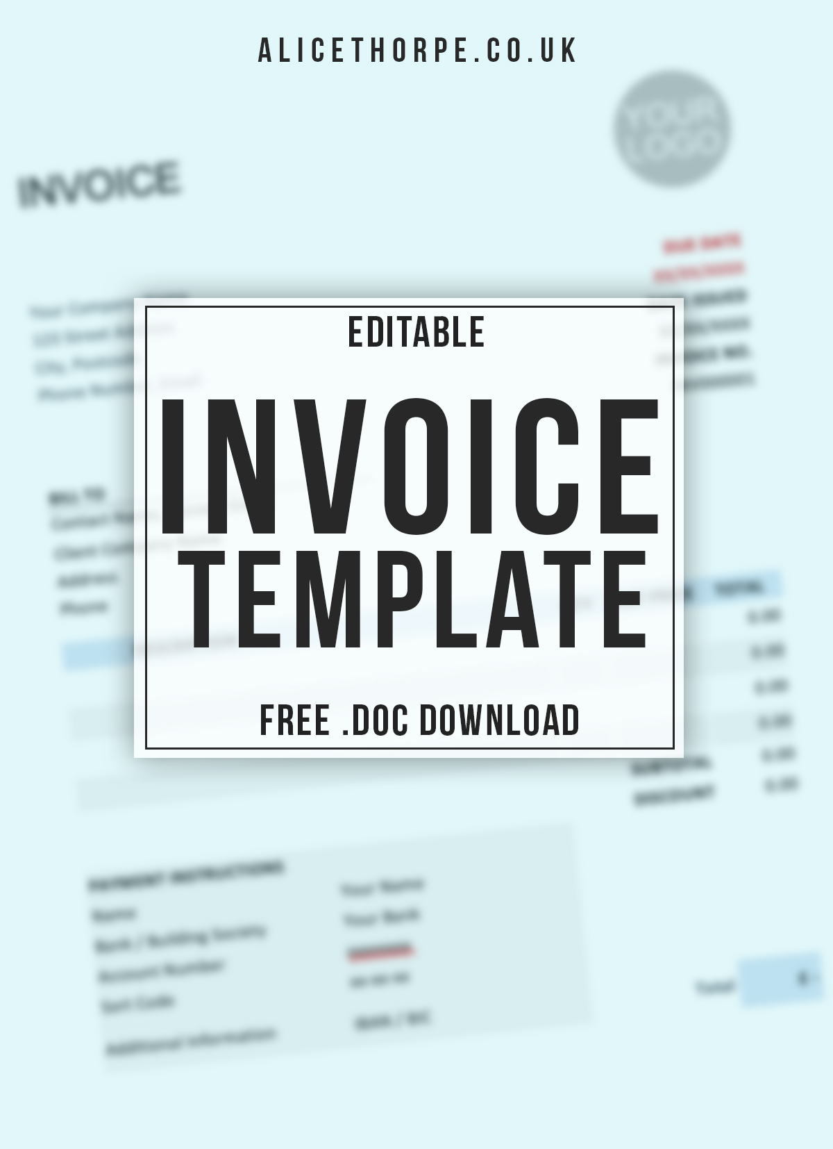 FREE Editable Invoice Template. Compatible with Google Docs and Microsoft Word