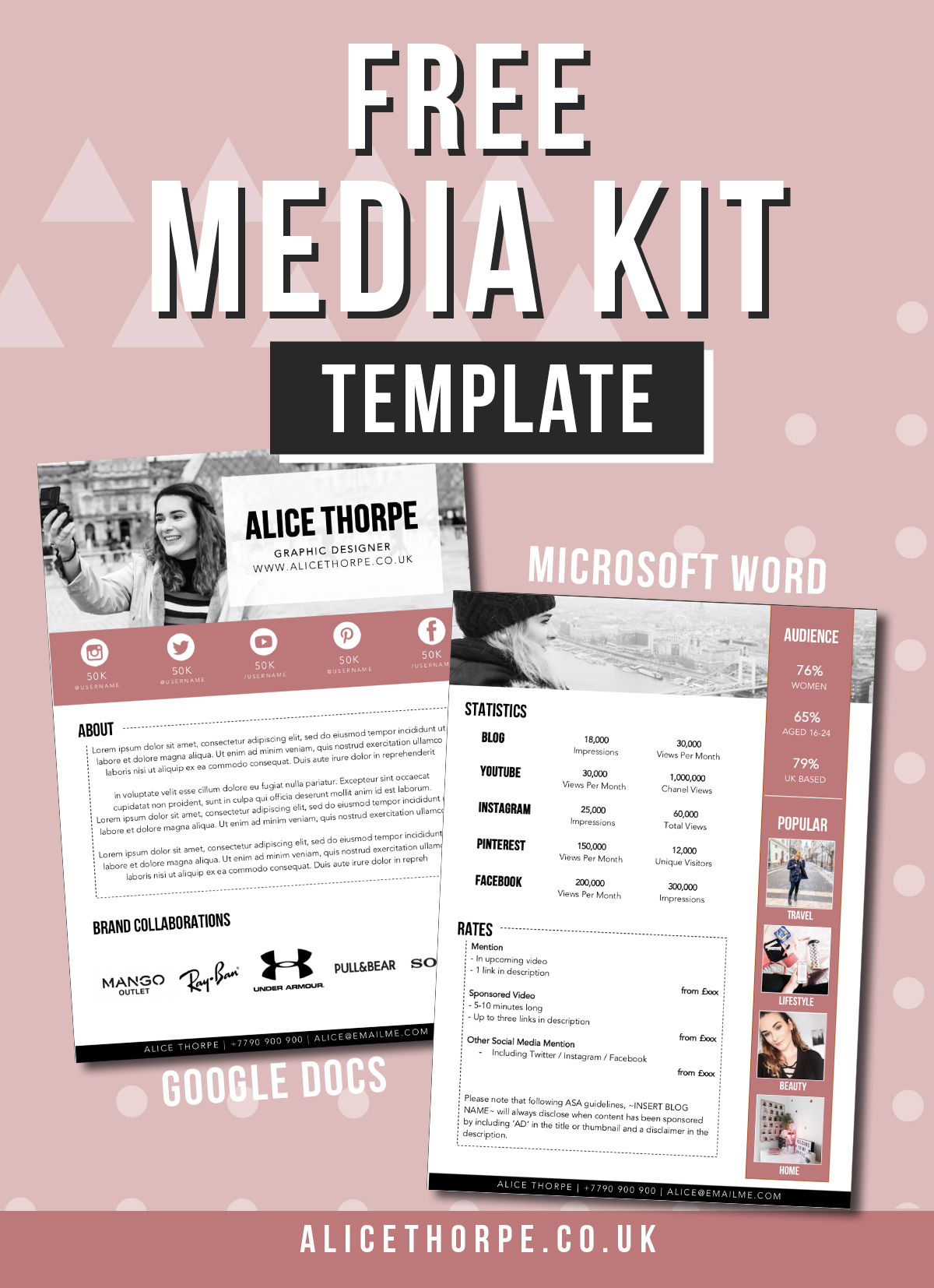 Free media kit download for Google Docs and Microsoft Word