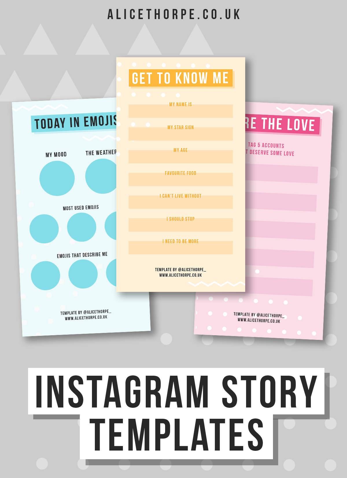 Free Instagram Story Templates. This or that. Favourites. Today in emojis. Me in GIFs.