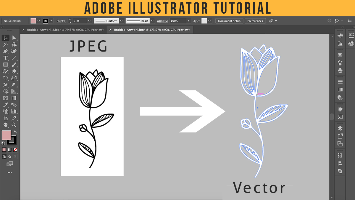 How To Convert JPEG into Vector | Adobe Illustrator Tutorial