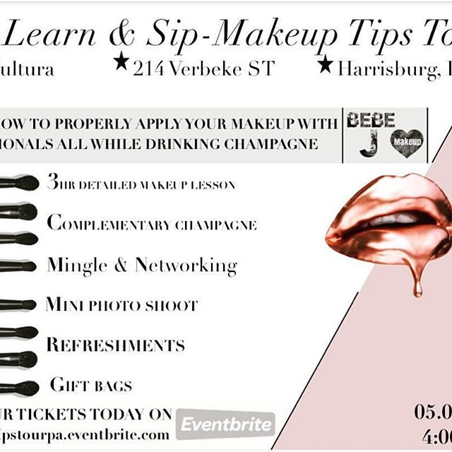 Join @makeuptipstour in Harrisburg for the Learn & Sip masterclasses taught by @bebejmakeup.  Seats are limited. Get your tickets on Eventbrite. Practice your makeup with professionals while drinking champagne and having girl talk.  We partnered with @curls @kaysadacosmetics @samantha.carangelo @sixthandrosebeauty @cynthiabossbeauty @lacultura717 @shorrtydopee to bring you an empowering experience and opportunity to explore makeup, networking, food and drinks.  #kaysadacosmetics  #makeuptipstour