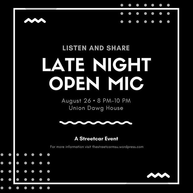 Late Night #OpenMic this Sunday at 8pm in the Union! Come share your performance work or just sit back, listen, and have some cookies or coffee🍪☕🎼
