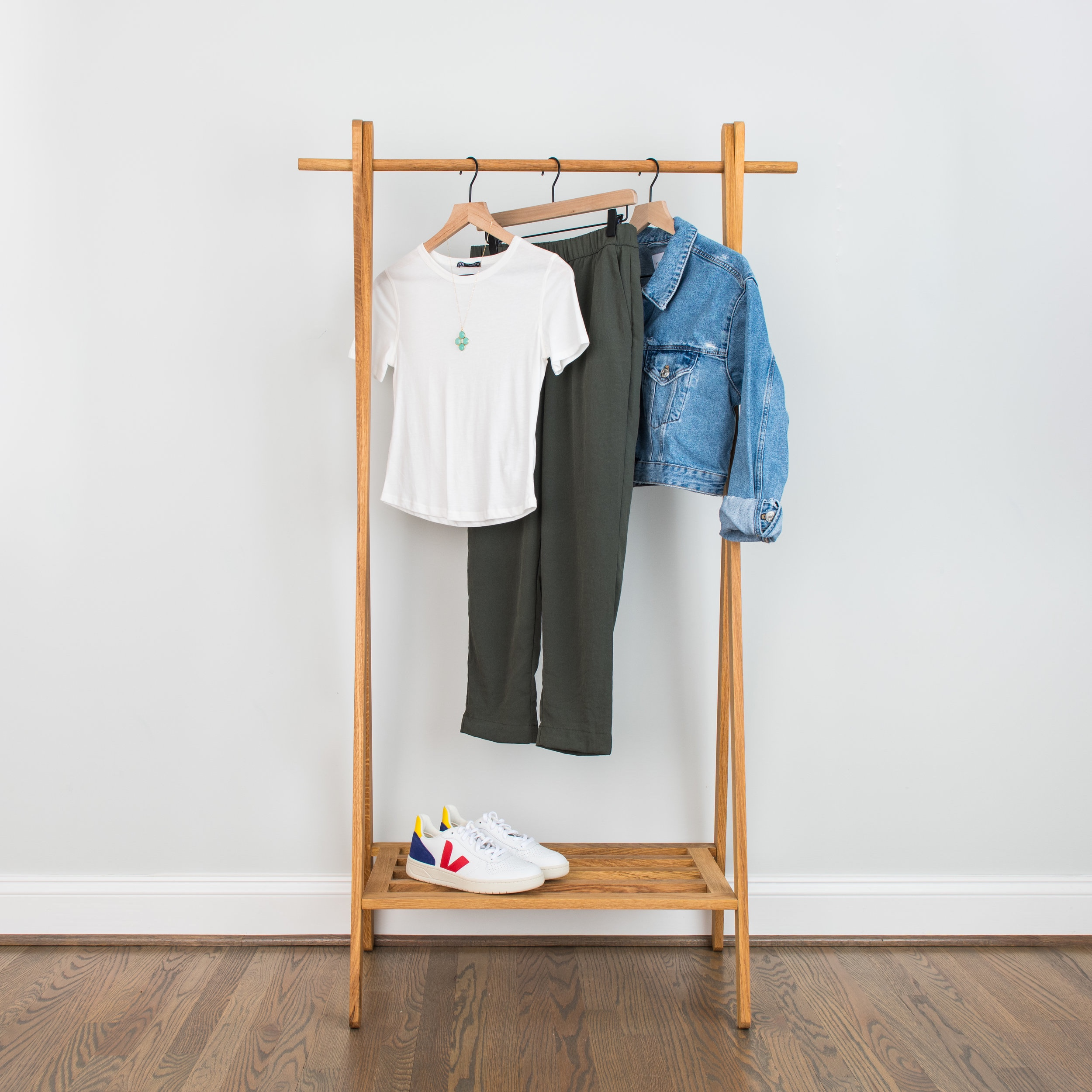 Jog-Leisure Cool - The perfect outfit for a Fall daytime outing. You can layer the jacket over for a cooler morning or evening and feel stylish all day.White T-Shirt: 1 // 2 // 3Dressy Joggers: 1 // 2 // 3Denim Jacket: 1 // 2 // 3Leather Sneakers: 1 // 2 // 3Green Necklace: 1 // 2 // 3