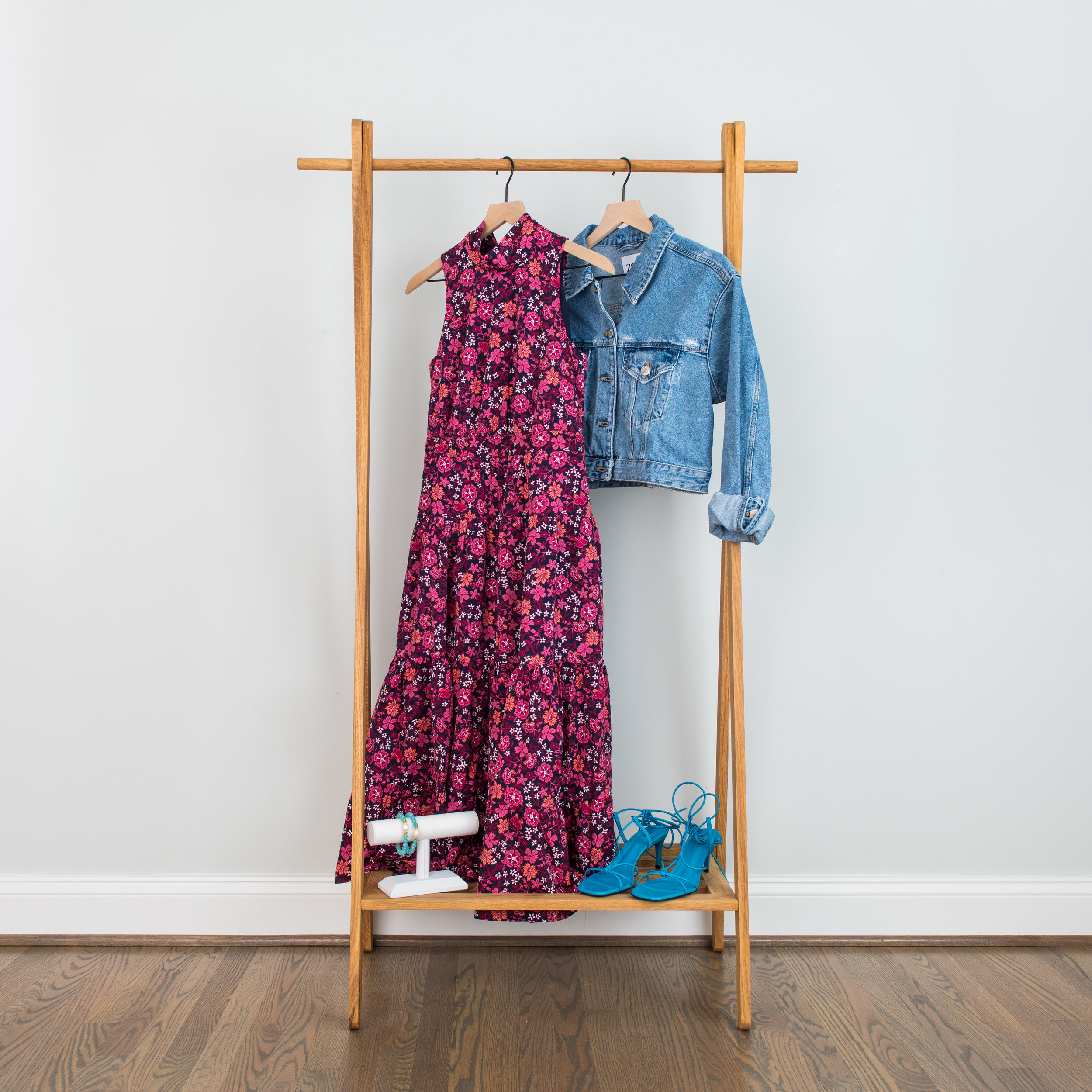 """Ruffle It Up - We all have those occasions where we need to be dressy but don't want to overdo it. A layered dress with colored, strappy sandals and a denim jacket can be your new """"go-to"""". Layer and un-layer this look to dress it up or down.Tiered/Ruffled Dress: 1 // 2 // 3Denim Jacket: 1 // 2 // 3Colored Strap Sandals: 1 // 2 // 3Stacked Bracelets: 1 // 2 // 3"""