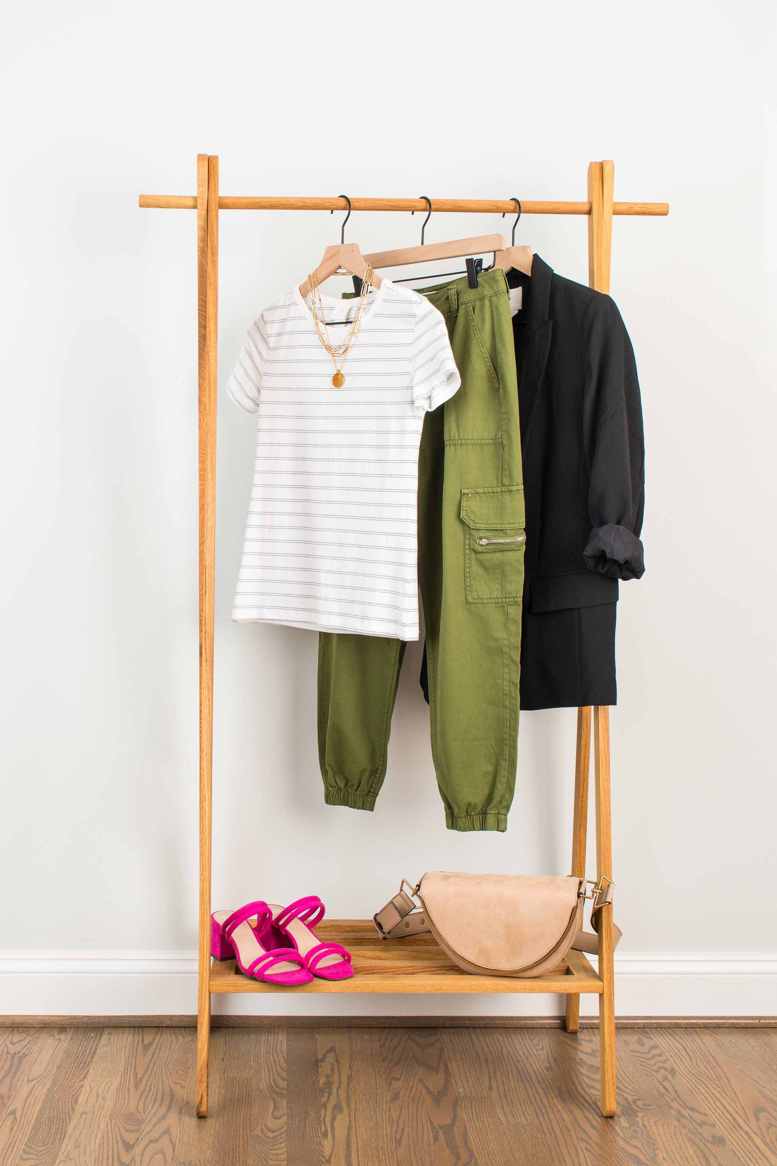 Casual With a Pop of Color - Wear to: Dinner at friend's houseStriped Tee: 1 // 2 // 3Cargo Pants: 1 /// 2 // 3Oversized Blazer: 1 // 2 // 3Colored Sandals: 1 // 2 // 3Necklaces: 1 // 2 // 3Bag : 1 // 2 // 3