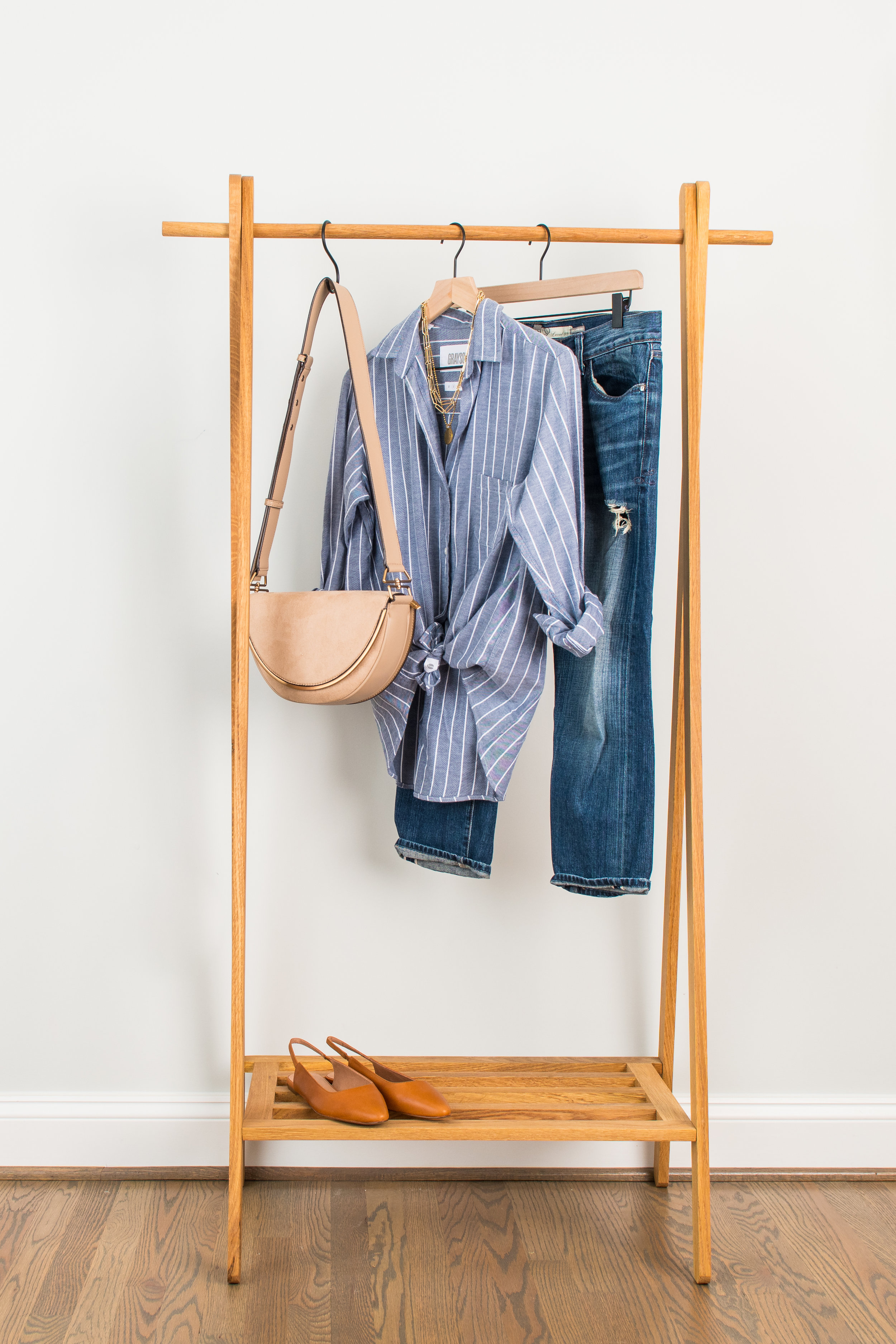 Striped & Distressed - Wear to: Lunch with friends or casual dinnerButton Down: 1 // 2 // 3Distressed Denim: 1 // 2 // 3Brown Slingbacks: 1 // 2 // 3Necklace: 1 // 2 // 3Bag : 1 // 2 // 3