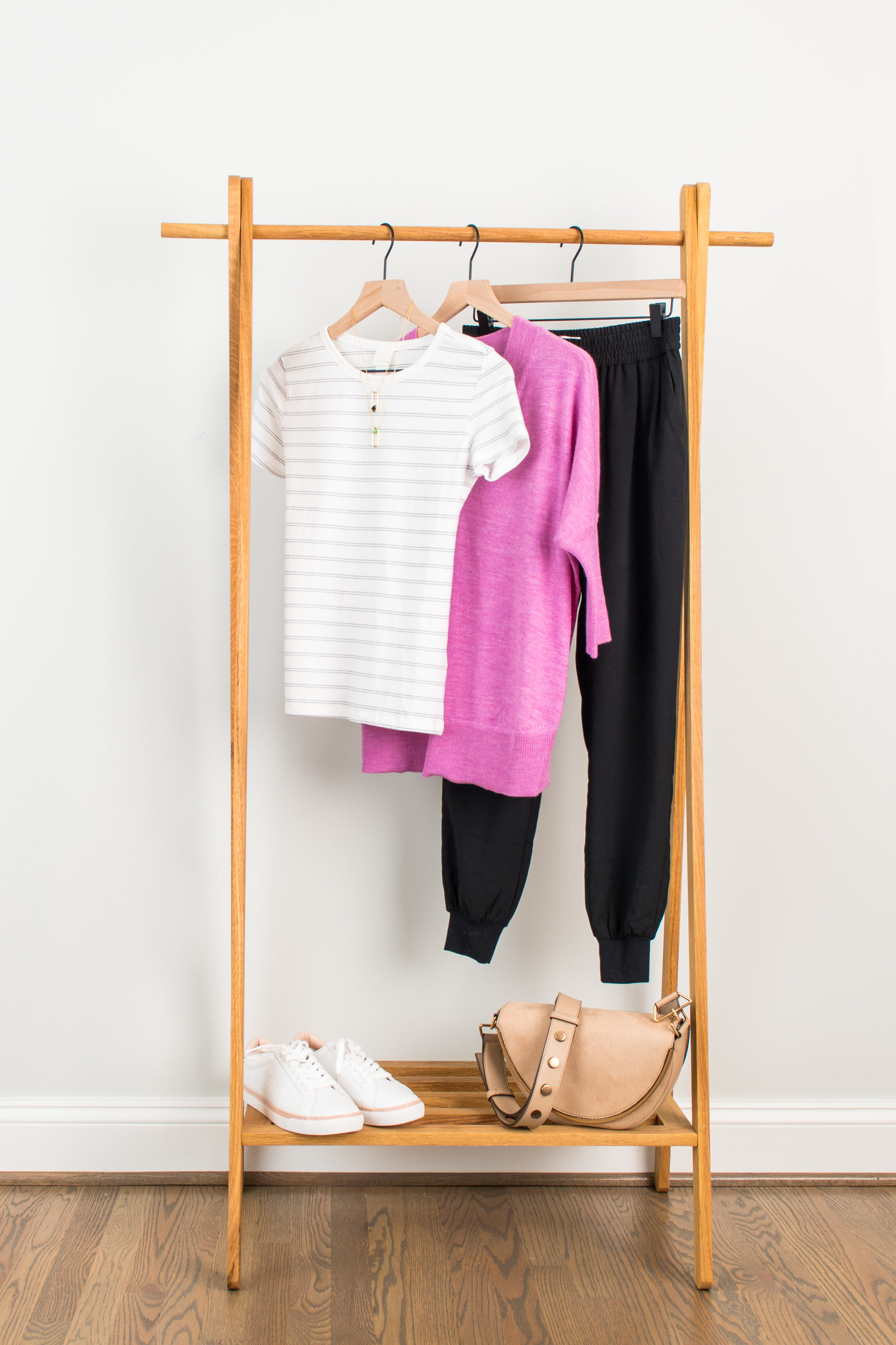 Cuter Than Sweats - Wear to: Running errands or sports eventStriped Tee: 1 // 2 // 3Dressy Jogger: 1 // 2 // 3Pullover Sweater: 1 // 2 // 3Sneakers: 1 // 2 // 3Necklace: 1 // 2 // 3Bag : 1 // 2 // 3