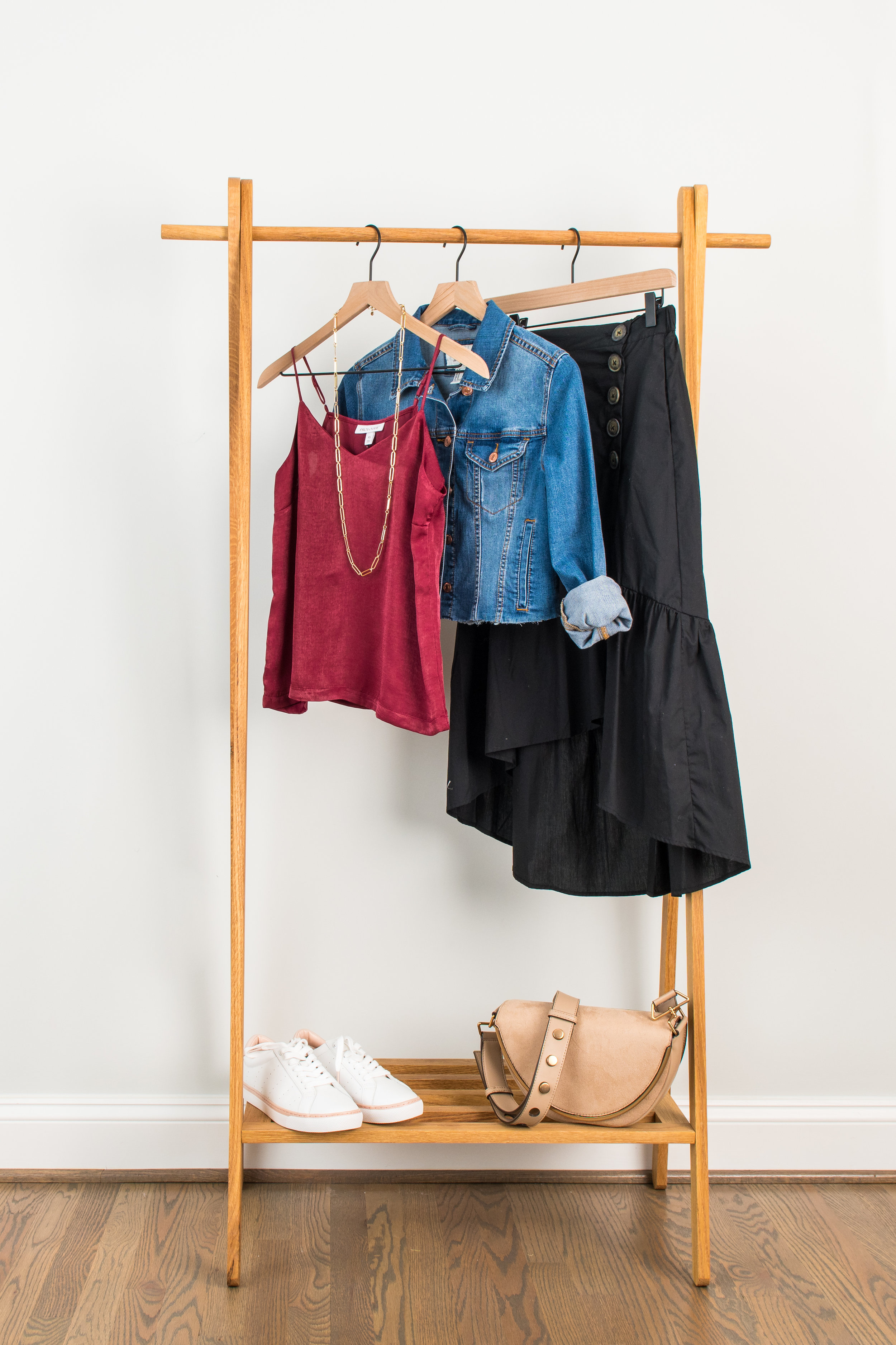 Easy Like Saturday Daytime - Wear to: Lunch & day out shoppingSilk Camisole: 1 // 2 // 3Ruffle Skirt: 1 // 2 // 3Denim Jacket: 1 // 2 // 3Sneakers: 1 // 2 // 3Necklace: 1 // 2 // 3Bag : 1 // 2 // 3