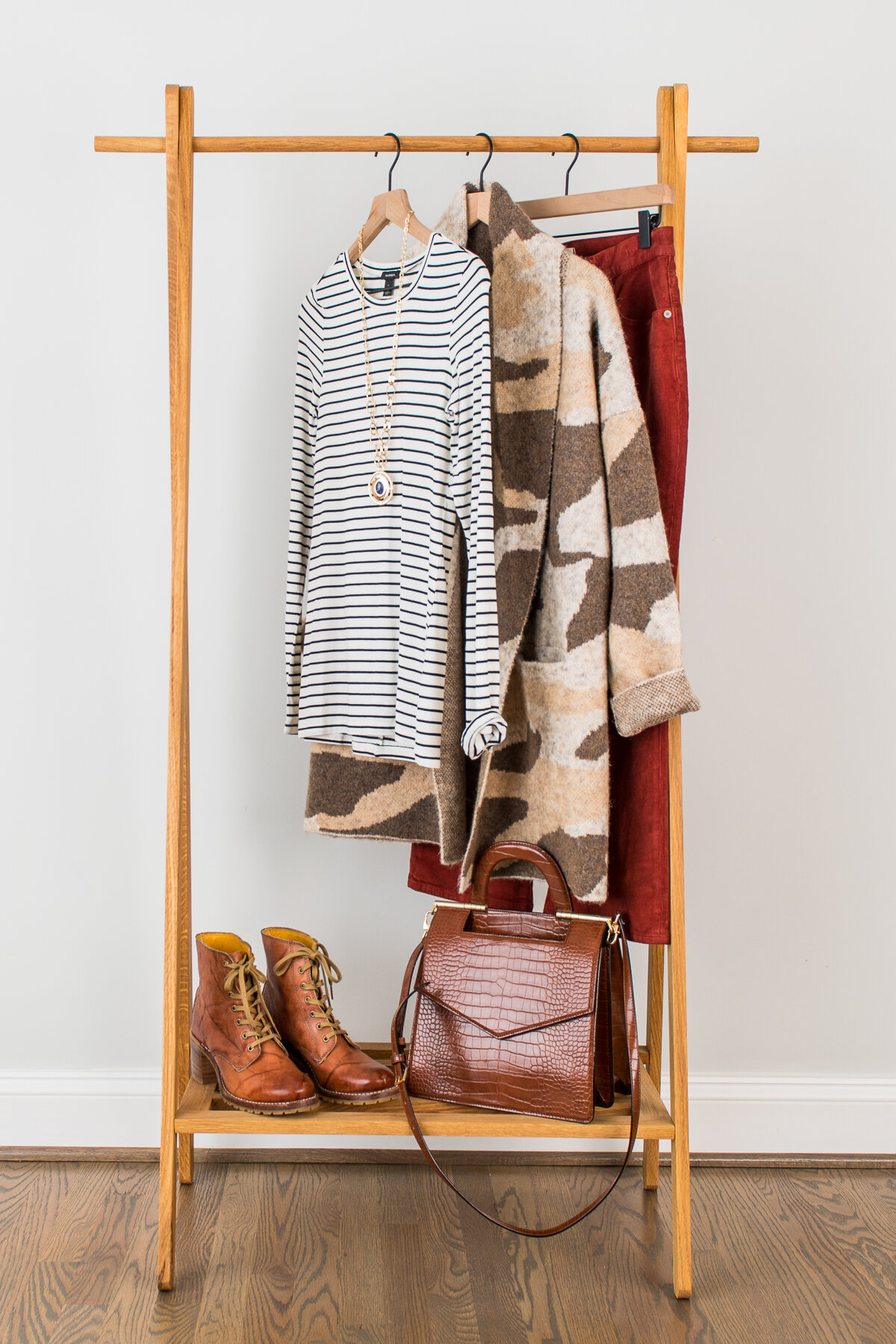 Day Look - STYLING TIP: Take your old lace-up booties out of the closet. It's time to wear them again. Pair your booties with flared corduroys and a tee/cardigan combination for a great Fall Look.Striped TeeSweater CoatCorduroysNecklaceBootiesBag