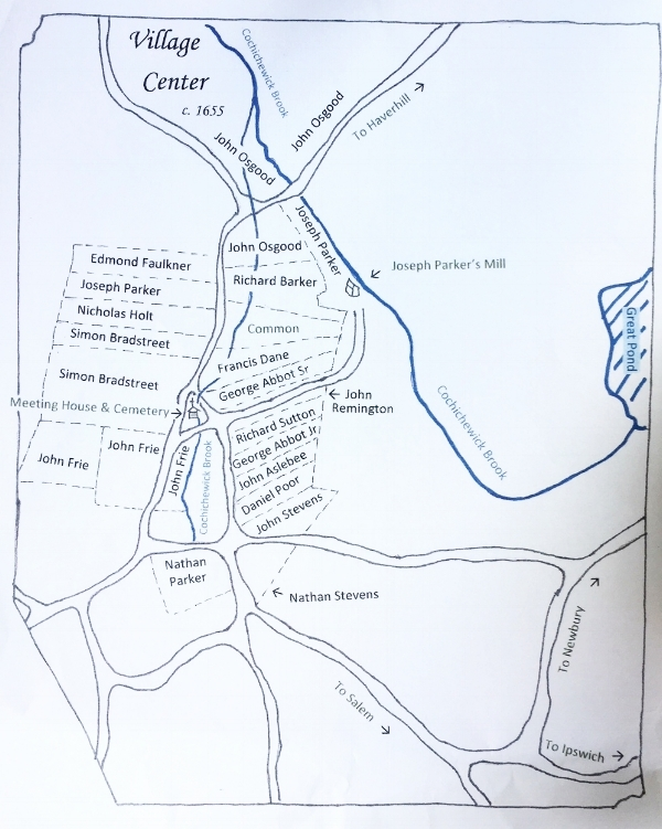 1655 Map of Andover [Modern Approximation], North Andover Historical Society.